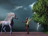 Fairy and Unicorn — Stock Photo