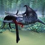 Liopleurodon attacks Plesiosaurus — Stock Photo