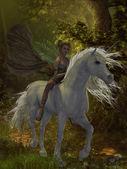 Fairy rides Unicorn — Stock Photo