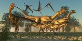 Dilophosaurus Hunt — Zdjęcie stockowe