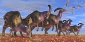 Parasaurolophus Herd — Stock Photo