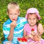 Kids eating strawberries — Stock Photo