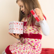Young Girl with Valentine Gift — Stock Photo