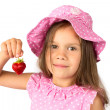 Young Girl with a Strawberry — Stock Photo