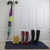 Rubber Boots and Umbrella — Stock Photo