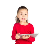 Funny Little Girl with Tablet Computer — Stock Photo
