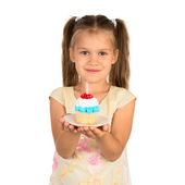 Girl and a Cupcake — Stock Photo