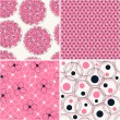 Set of four seamless abstract floral pattern — Stock Vector