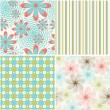 Vector set of seamless pattern with flowers — Stock Vector #29795219