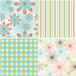 Vector set of seamless pattern with flowers — Stock Vector