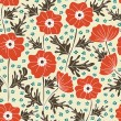 Poppy seamless background pattern — Stockvektor