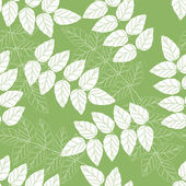 Seamless green and white leaves background pattern — Stock Vector