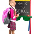 Little Girl at a Blackboard — Stockfoto