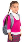 Klein meisje in schooluniform — Stockfoto