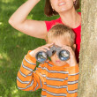 Mother and Son Looking At Something — Stock Photo