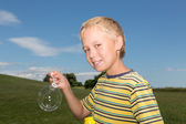 Boy Making Bubbles — Stock Photo