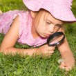 Girl With Magnifier — Foto de Stock