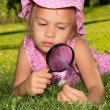 Girl With Magnifier — Stock Photo