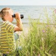 Boy With Binoculars — Stock Photo