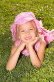 Girl Lying on a Grass — Stock Photo
