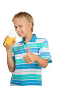 Boy Holdng Glass With Orange Juice Showing Thumb Up — Stock Photo