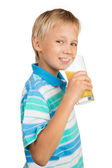 Boy with a Glass of Orange Juice — Stock Photo
