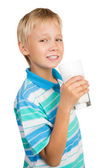Boy With Glass of Milk — Stock Photo