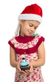 Girl with Holiday Cupcake — Stock Photo
