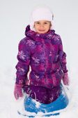 Girl on a Sled — Stock Photo