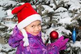 Girl with Christmas Tree — Stock Photo