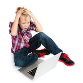 Shocked Boy with Laptop — Stock Photo