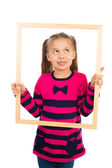Girl with Frame — Stock Photo