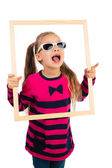 Girl in sunglasses with Frame — Stock Photo