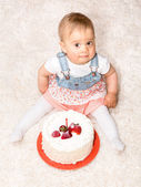 One Year Old and a Cake — Stock Photo