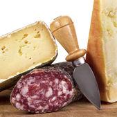 Salami and cheese — Stock Photo