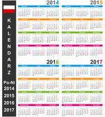 Calendar 2014-2017 — Stock Vector