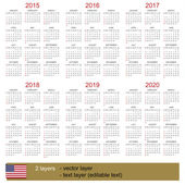 Calendar 2015-2020 — Stock Vector