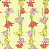 Seamless pattern with tulips — Cтоковый вектор