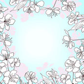 Frame of cherry blossoms — Stock Vector