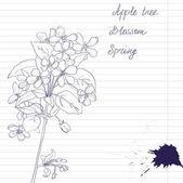 インク アップル ツリー ブランチで花と葉、ベクトル図の描画 — ストックベクタ
