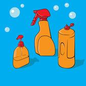 Zerstäuber und flüssigseife, vektor-illustration — Stockvektor