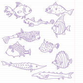 Ink drawing fish at lined paper, vector illustration — Stock Vector