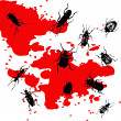 Silhouettes of insects on a background with blood stains — Stock Vector