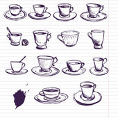 Set of ink drawing teacups — Stock Vector