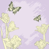 Vintage card with butterflies and tulips — Vector de stock