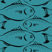 Seamless pattern from fishes — Stok Vektör