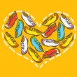 Heart from shoes — Vector de stock