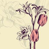 Vintage floral card — Stock Vector
