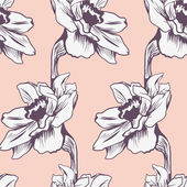 Seamless pattern with narcissus — Vector de stock