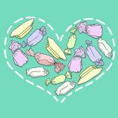 Heart from candies — Vector de stock